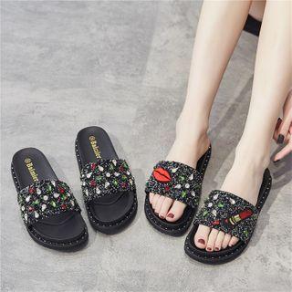 Eloise - Platform Rhinestone Slide Sandals
