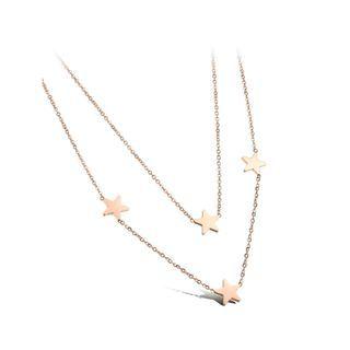 BELEC - 简约时尚镀玫瑰金316L 钢星星双层项链