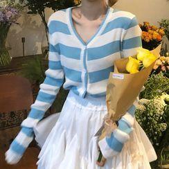 SUGARUS - 条纹开衫 / A字迷你裙