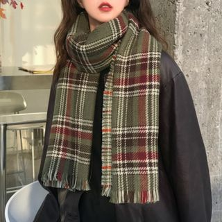 FROME - Plaid Fringed Scarf