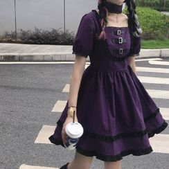 Genki Groove - Lace Trim Plaid Short-Sleeve Mini A-Line Dress