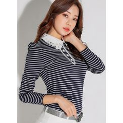 Styleonme - Collared Lace-Trim Faux-Pearl Stripe Top