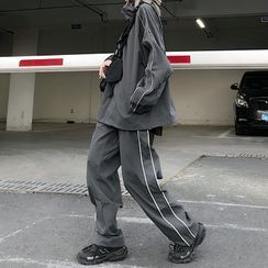 Giuliana(ギーリアナ) - Set: Reflective Piping Trim Zip Jacket + Piping Trim Sweatpants