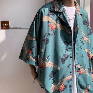 Acrius - Oversized Elbow-Sleeve Bird Print Shirt