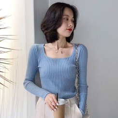 Gwendolyn - Ribbed Square-Neck Long-Sleeve Sweater