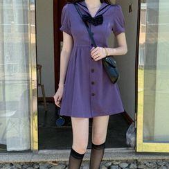 Apotheosis - Short Sleeve Sailor Collar A-Line Dress