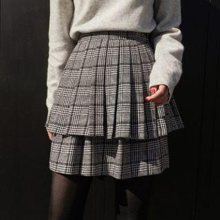 CHERRYKOKO - Tiered Glen-Plaid Mini Pleat Skirt