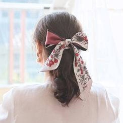 MISHORE - Floral Print Narrow Scarf / Hair Tie