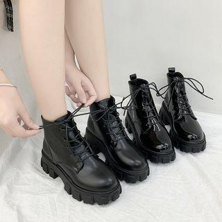 CYOS - 厚底粗跟繫帶短靴