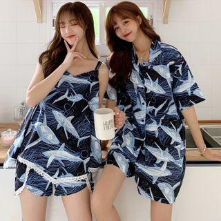 Panorama - Pajama Set: Shark Print Top + Shorts