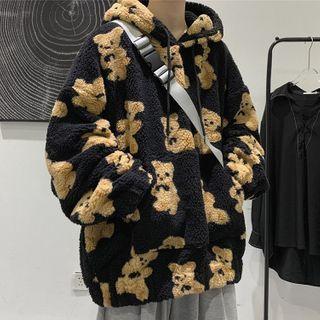 Wescosso(ウェスコッソ) - Bear Print Fluffy Hoodie