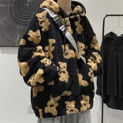 Wescosso - Bear Print Fluffy Hoodie