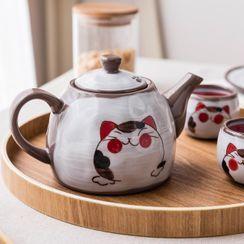 Modern Wife - Cat Print Ceramic Teapot / Drinking Cup / Tea Tray / Set