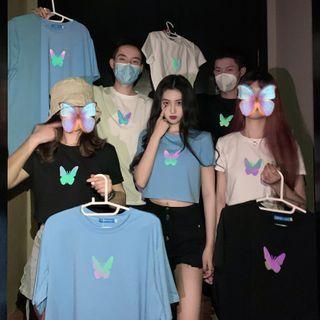 Luminato(ルミナート) - Butterfly Print Short-Sleeve T-Shirt