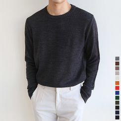 Seoul Homme - Crew-Neck Rib-Knit Top in 13 Colors