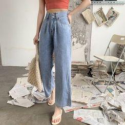 Piwonia - High-Waist Washed Wide-Leg Jeans