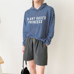 CANMART - Drop-Shoulder Letter-Printed Striped Hoodie
