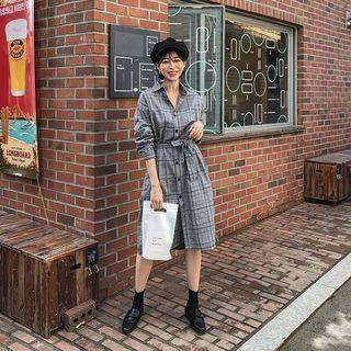 MERONGSHOP - Slit-Side Midi Plaid Shirtdress with Sash