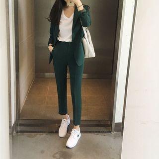 Smooch - 套装: 单扣西装外套 + 九分西裤