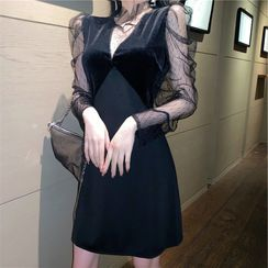 Kabanza - Long-Sleeve Mesh Panel Mini A-Line Dress