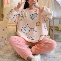 Sweetzer - 家居服套裝: 小兔印花法蘭絨衛衣 + 家居褲
