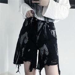 INStudio - Distressed Splatter Print Wide Leg Denim Shorts
