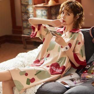 Ribbonsong - Printed Elbow-Sleeve Sleep Dress / Sleeveless Sleep Dress