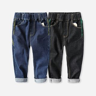Happy Go Lucky - Kids Elastic Waist Contrast Stitched Denim Pants