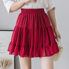 Voila - Tiered A-Line Mini Skirt