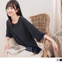 OrangeBear(オレンジベア) - Elbow Sleeve Mock Two Piece Striped Chiffon Top