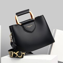 Mayanne - Genuine Leather Metal Handle Crossbody Bag