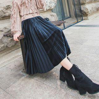 Donnae - Midi A-Line Accordion Pleat Velvet Skirt