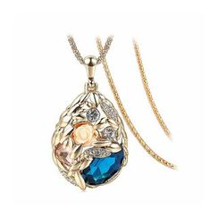 BELEC - Romantic Bohemian Golden Rose Pendant with Blue Crystal and Necklace
