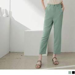 OrangeBear - High-Waist Straight-Cut Chiffon Pants