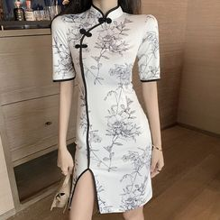 Tidel - Elbow-Sleeve Print Slit Midi Qipao