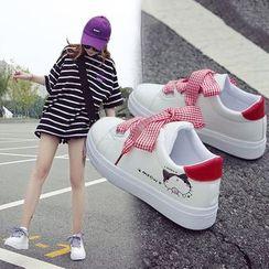 Satomi - 小貓印花繫帶休閒鞋