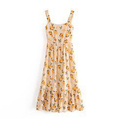 Odilia - Fruit-Print Ruffle Trim Tank Dress