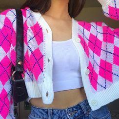 BrickBlack - Cherry Embroidered Cropped Cardigan / Argyle Cropped Cardigan