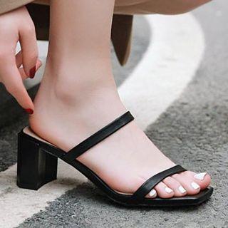 Aegina - 方形鞋頭粗跟涼拖
