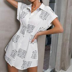 Glamaker - 短袖字母衬衫连衣裙