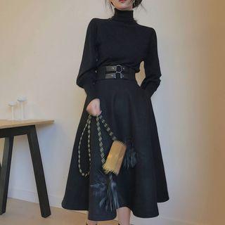 EFO - Set: Turtleneck Mutton Sleeve Knit Top + Belted Midi Skirt