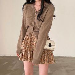 monroll - V-Neck Cardigan / Floral Print Tiered Mini A-Line Skirt