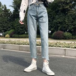 Honey River - Washed Cropped Straight-Cut Jeans