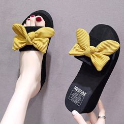 Weiya(ウェイヤ) - Platform Wedge Bow Slide Sandals