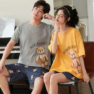 PJ Party - 情侣睡衣套装: 短袖小熊印花T裇 + 短裤