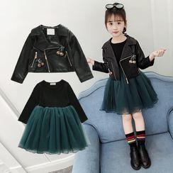PAM - 小童仿皮机车夹克 / 长袖网纱连衣裙 / 套装