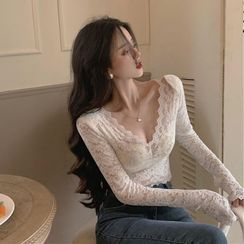IKIO - Long-Sleeve V-Neck Lace Top
