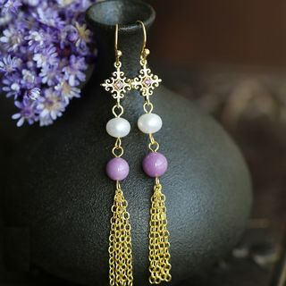 Kanzashi - Faux Pearl Fringed Earring