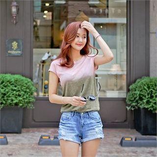 Styleberry - Dip-Dye Cap-Sleeve T-Shirt