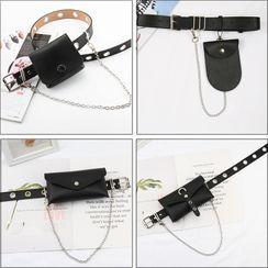 Planezza - 套装: 金属扣眼腰带 + 小包 + 链条